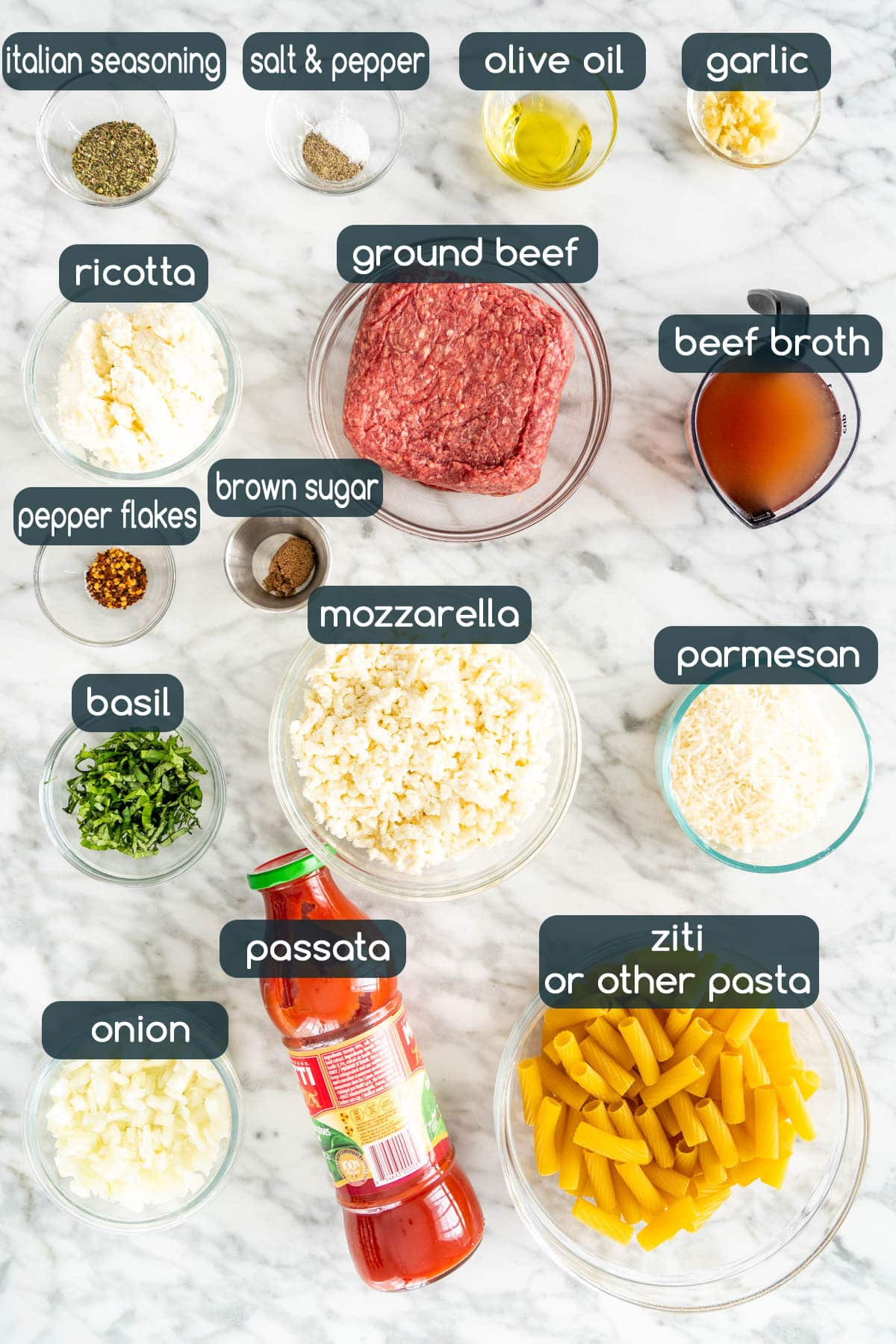 overhead shot of all the ingredients needed to make baked ziti