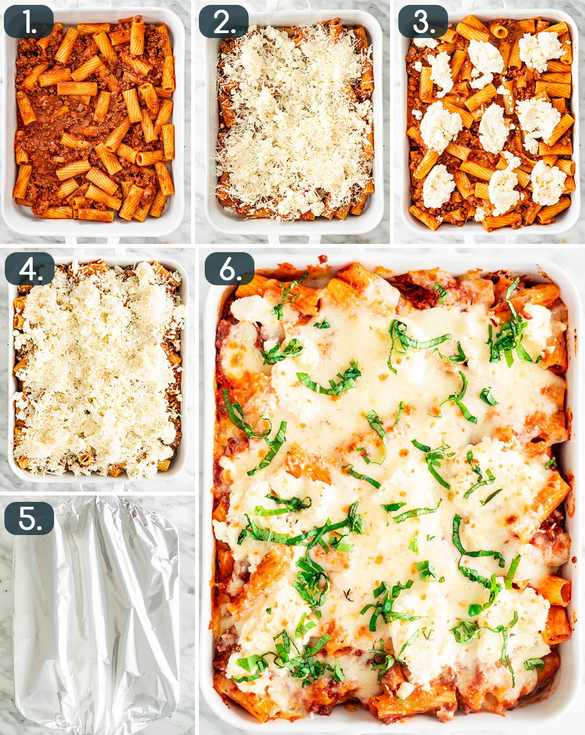 process shots showing how to assemble baked ziti