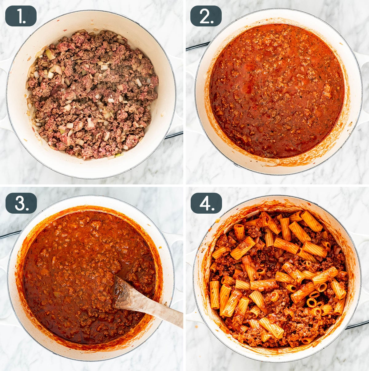 process shots showing how to make sauce for baked ziti