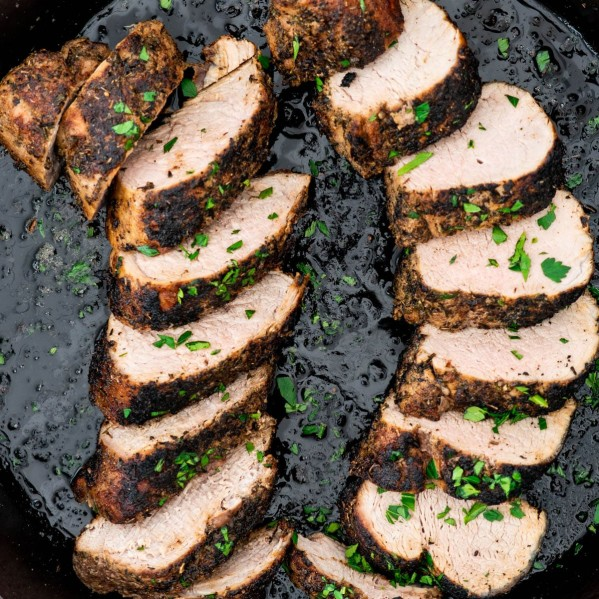 overhead shot of sliced pork tenderloin