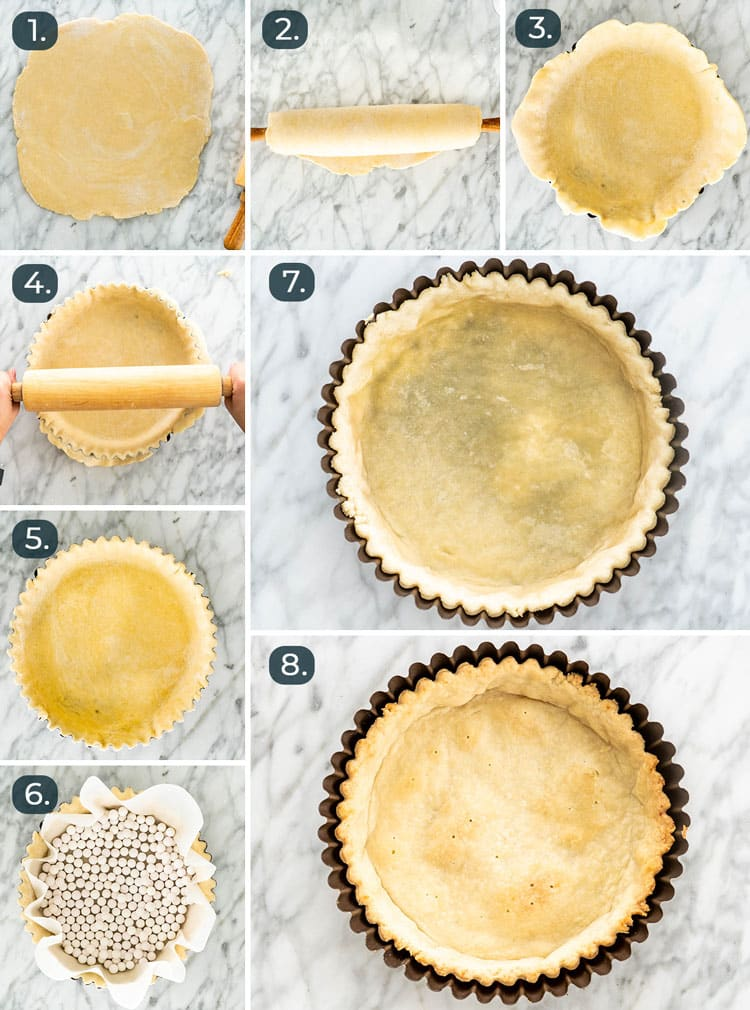 process shots showing how to prepare pie crust and blind bake it