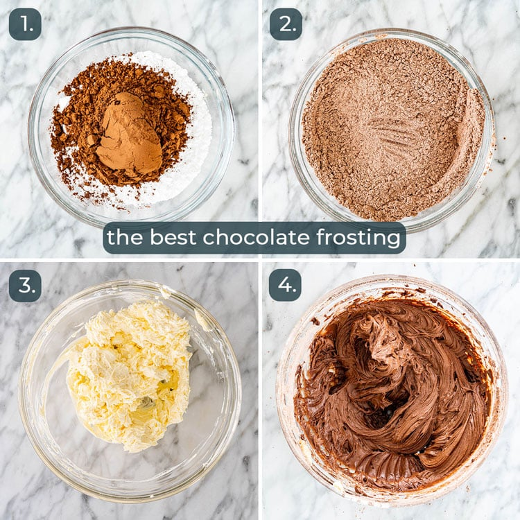 process shots showing how to make chocolate cream cheese frosting