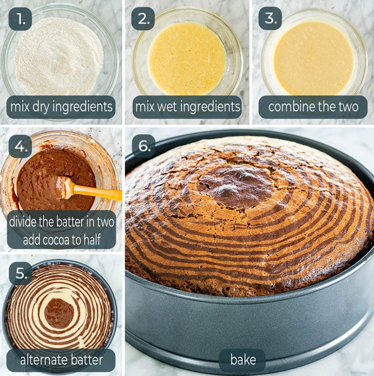 process shots showing how to make zebra cake