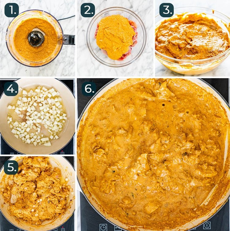 process shots showing how to make chicken korma