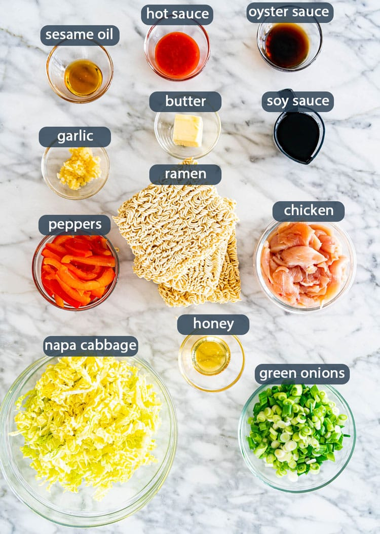 overhead shot of all ingredients needed to make chicken ramen stir fry