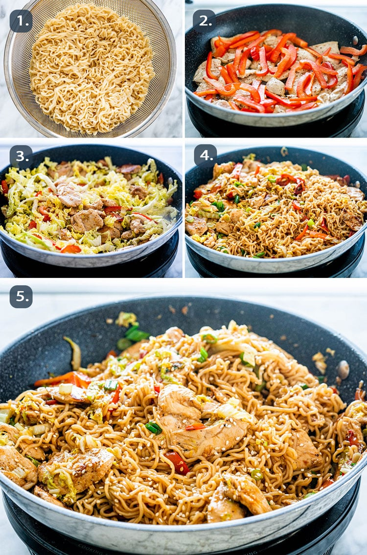 process shots showing how to make chicken ramen stir fry