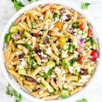 overhead shot of a bowl of greek pasta salad