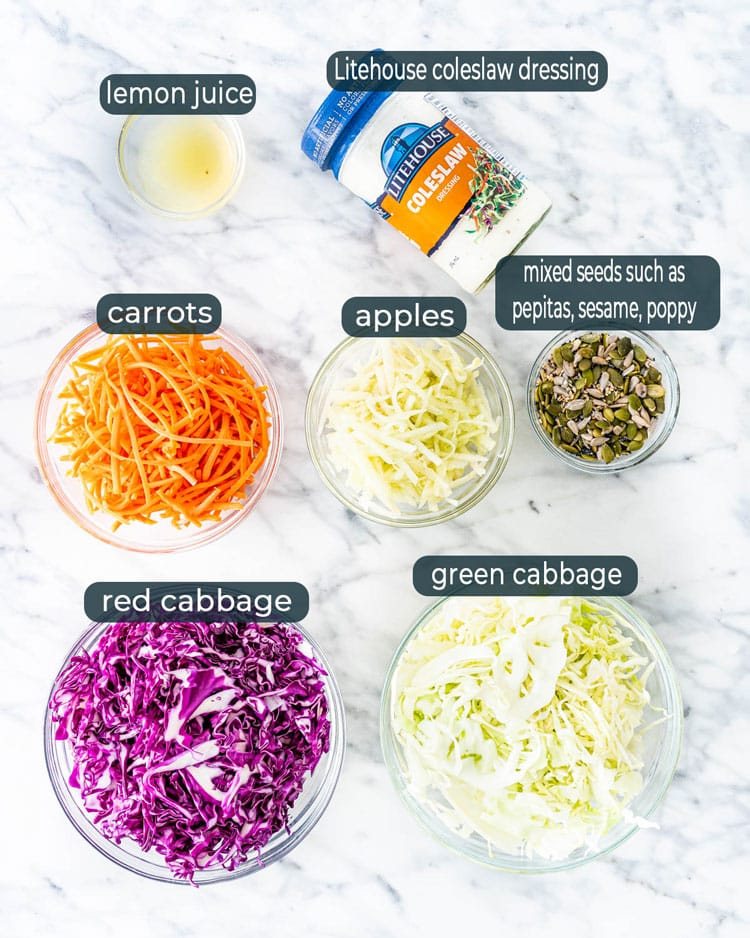 ingredients for Mixed Cabbage Apple Coleslaw