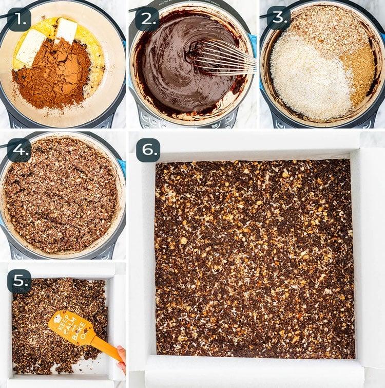 process shots showing how to make bottom layer of nanaimo bars
