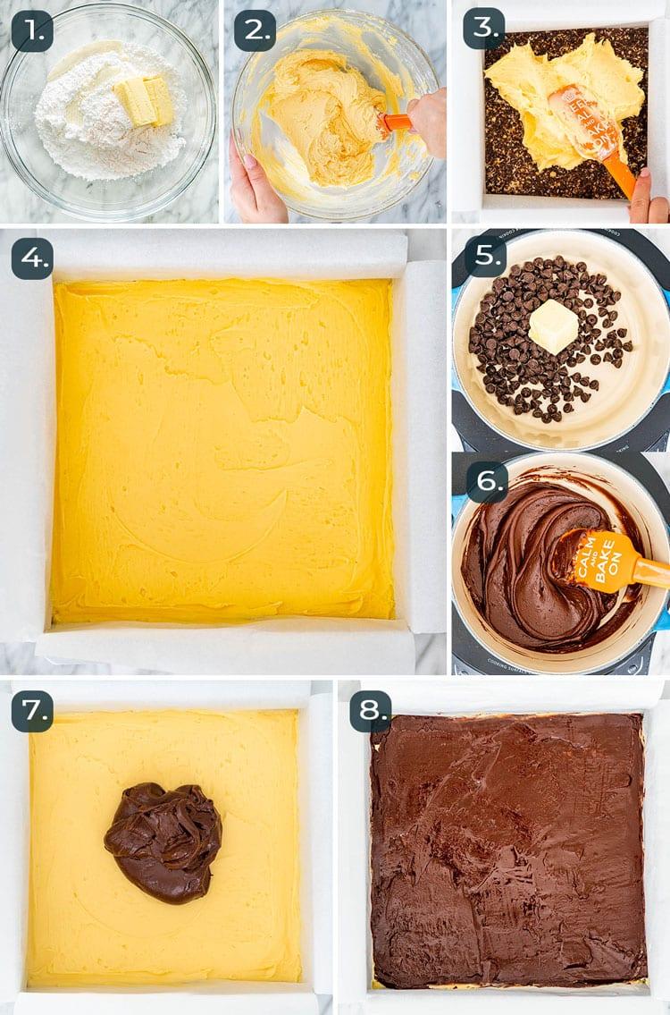 process shots showing how to make top 2 layers of Nanaimo Bars