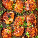 overhead shot of brown sugar garlic chicken thighs