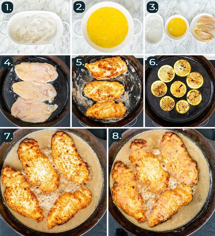 process shots showing how to make chicken francese