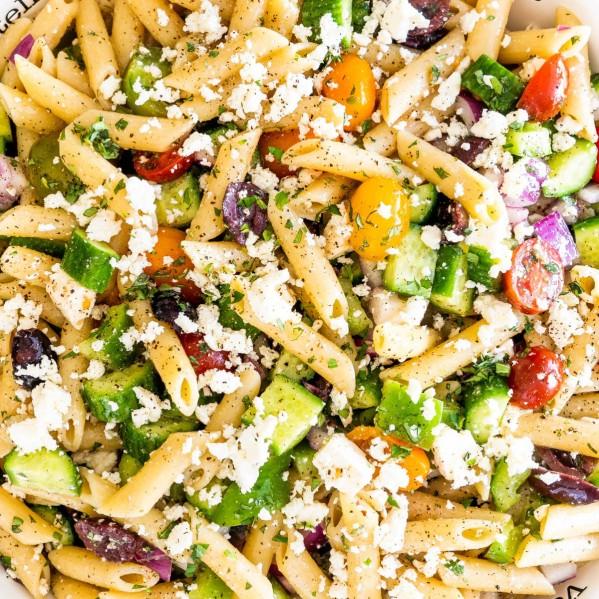 overhead shot of greek pasta salad