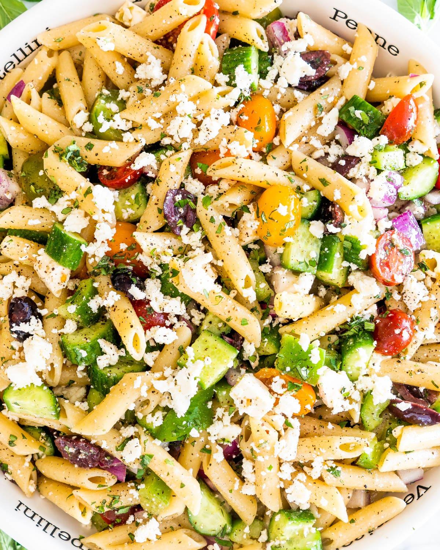 greek pasta salad in a pasta bowl