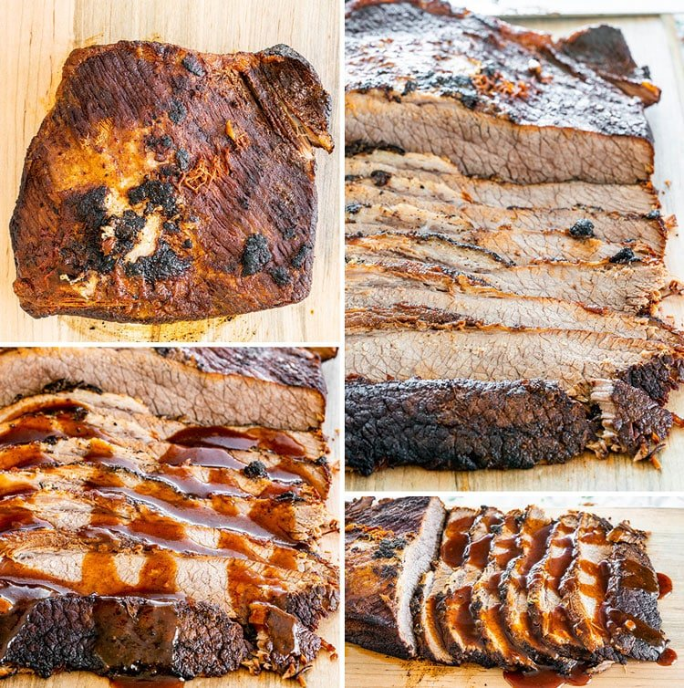 a collage of beef brisket pictures