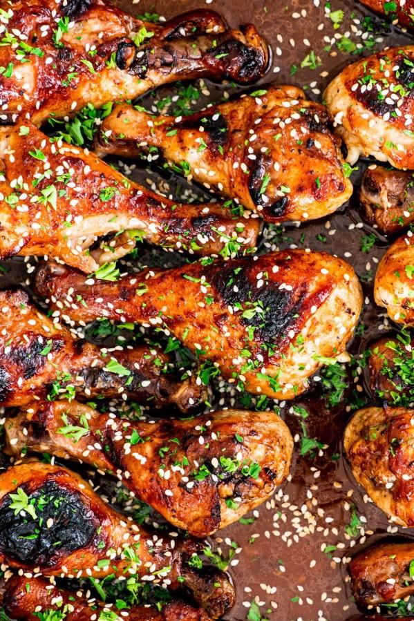 overhead shot of korean bbq chicken