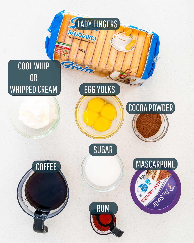 ingredients needed to make tiramisu.