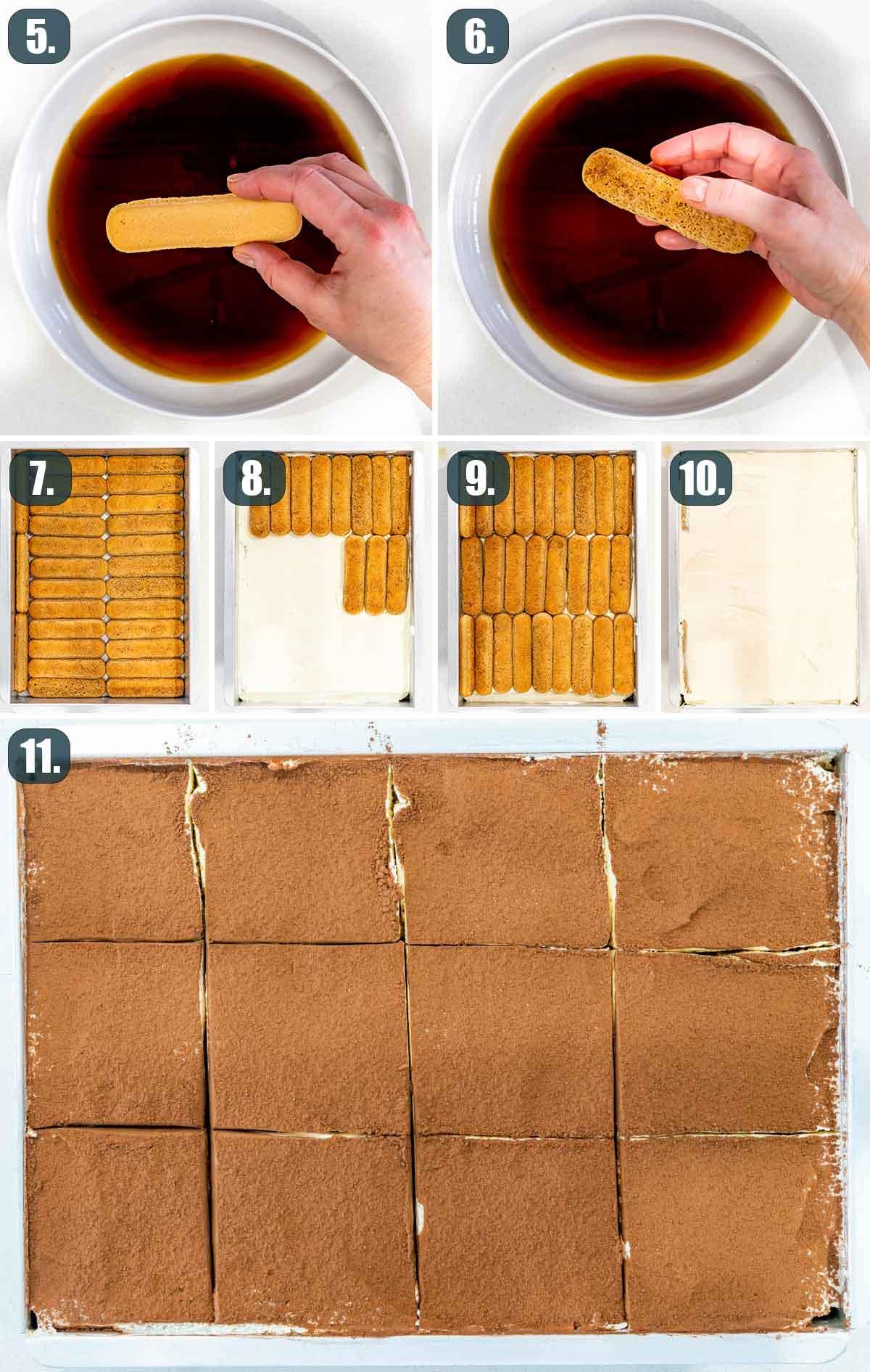 process shots showing how to assemble tiramisu.