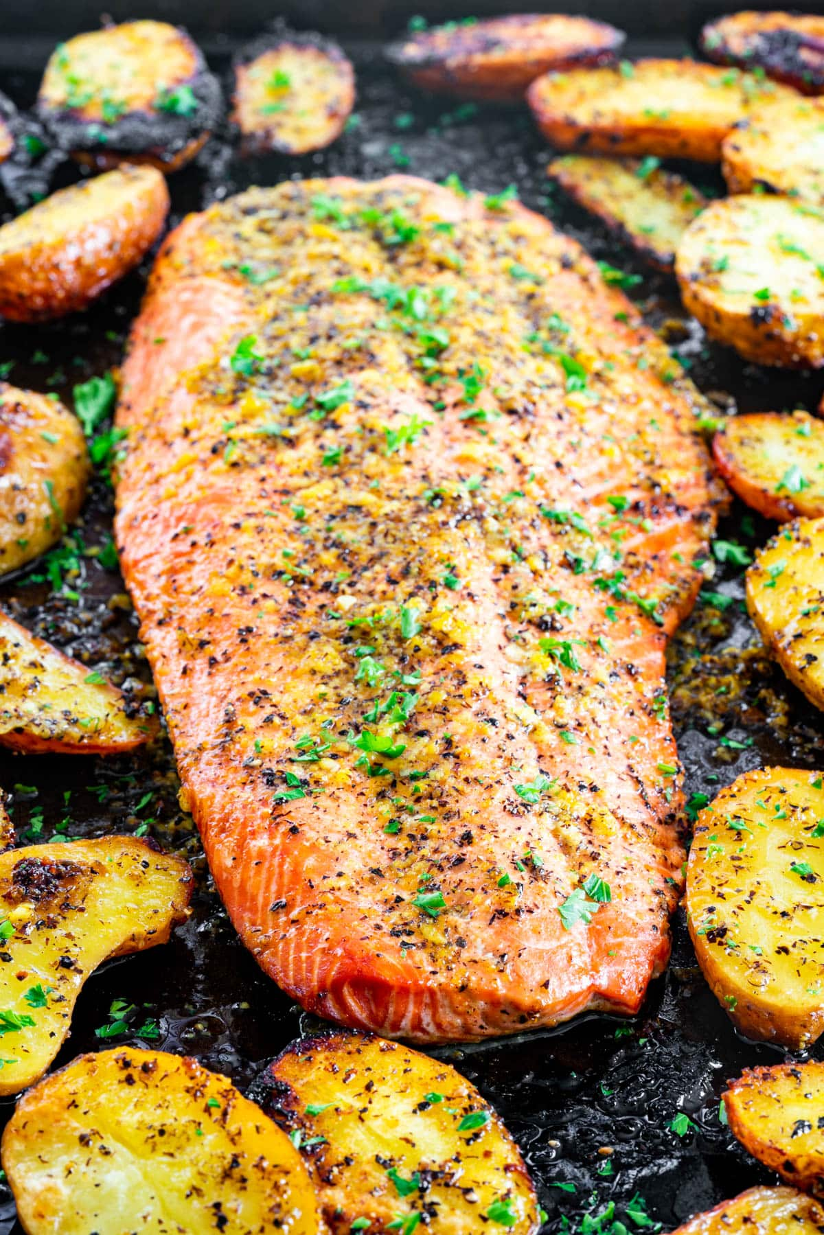 baked lemon pepper salmon on a baking sheet surrounded by roasted potatoes