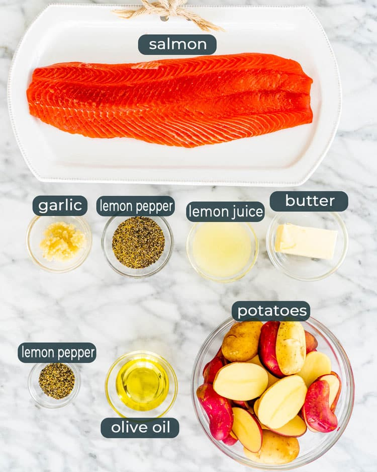 overhead shot of all ingredients needed to make lemon pepper salmon