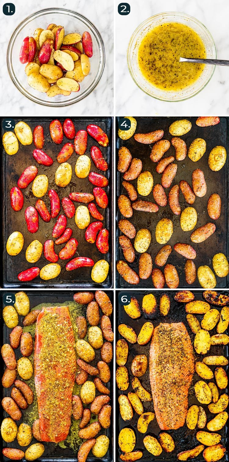 process shots showing how to make lemon pepper salmon