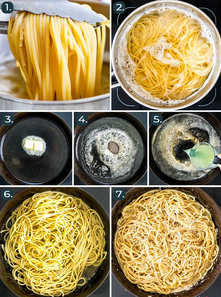 process shots showing how to make Cacio e Pepe
