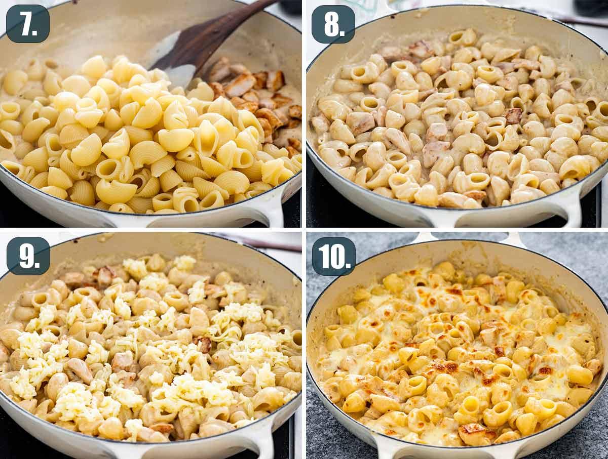 process shots showing how to finish chicken alfredo pasta bake.