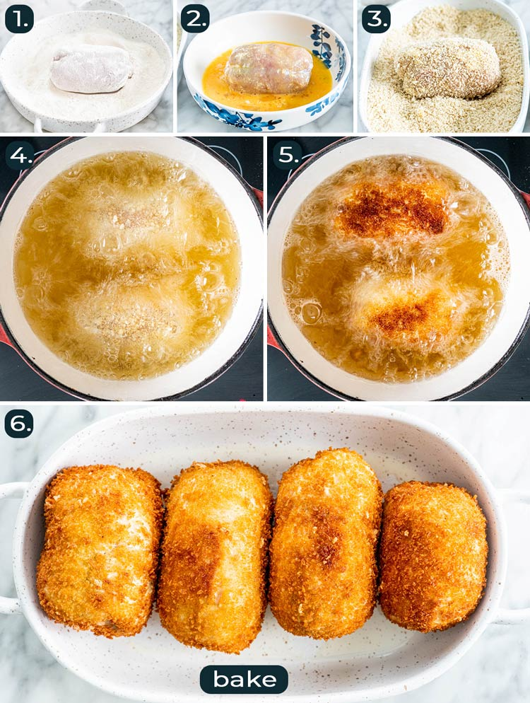 process shots showing how to fry chicken kiev