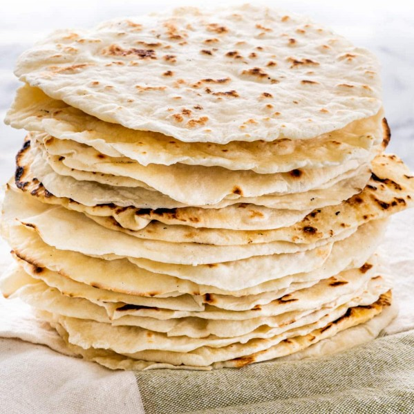 a stack of homemade tortillas
