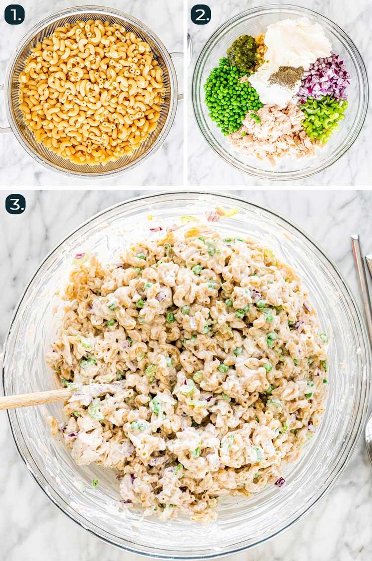 process shots showing how to make tuna macaroni salad