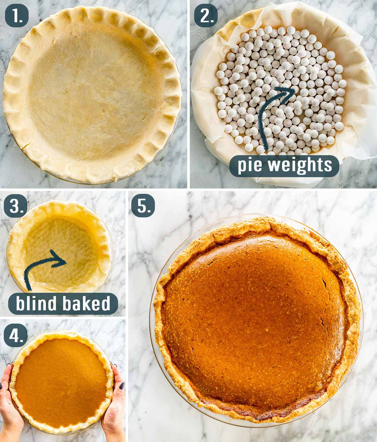 process shots showing how to assemble and bake a pumpkin pie.