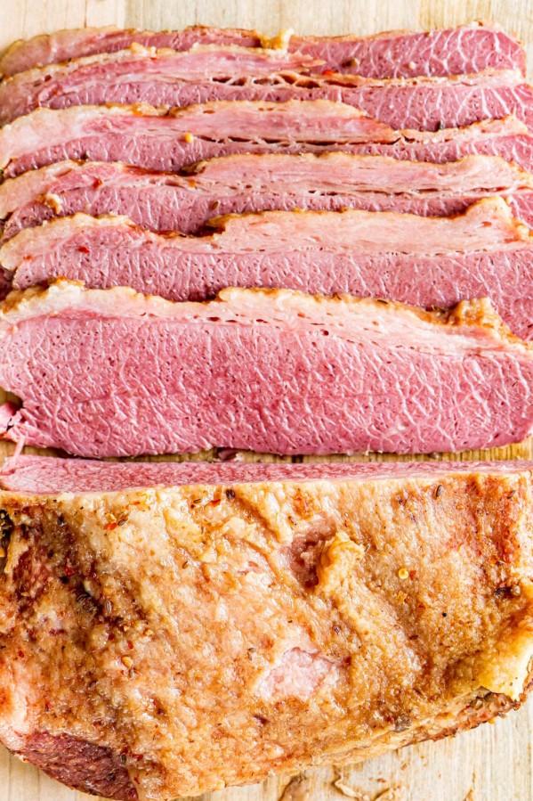 overhead shot of sliced slow cooker corned beef