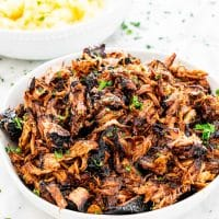 brown sugar balsamic pulled pork in a bowl
