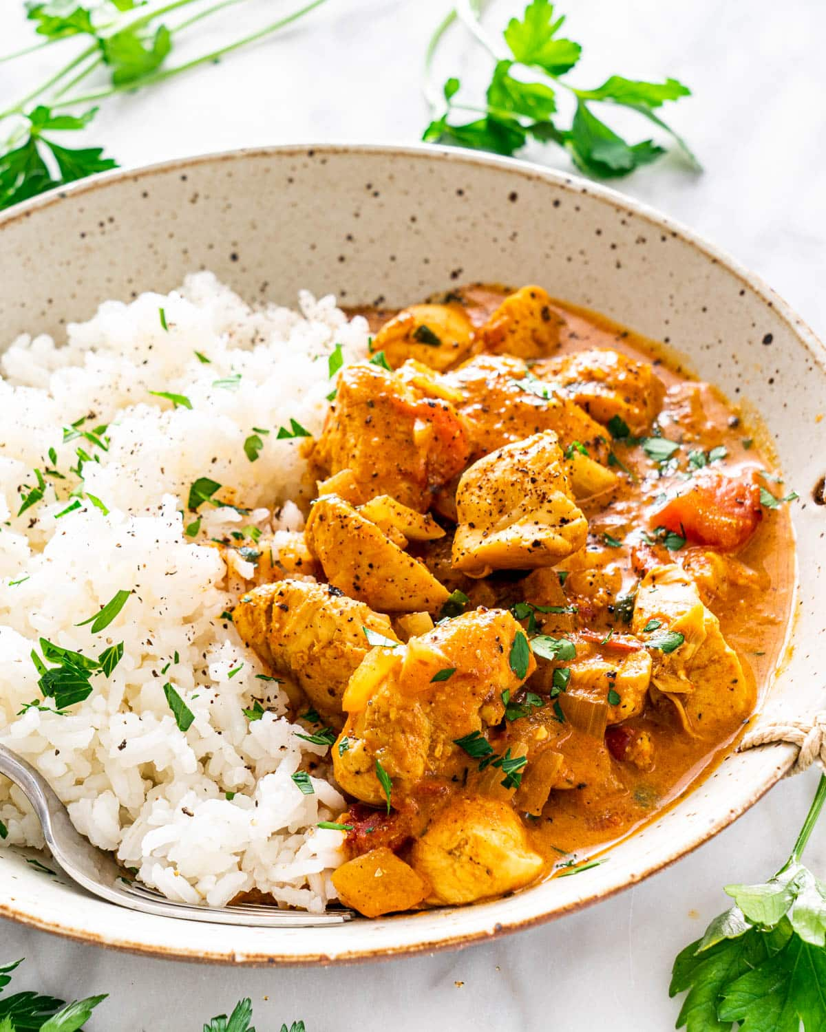 close up of Coconut Chicken Curry next to rice in a curry bowl