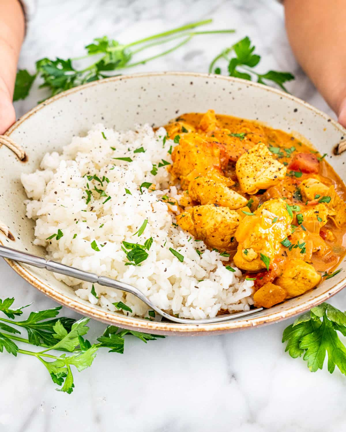 Coconut Chicken Curry in a bowl with rice