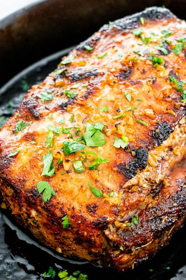 side view shot of honey garlic pork loin