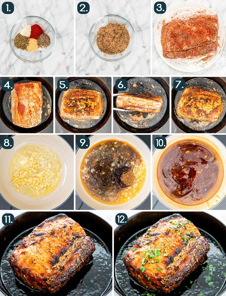 process shots showing how to make Honey Garlic Pork Loin