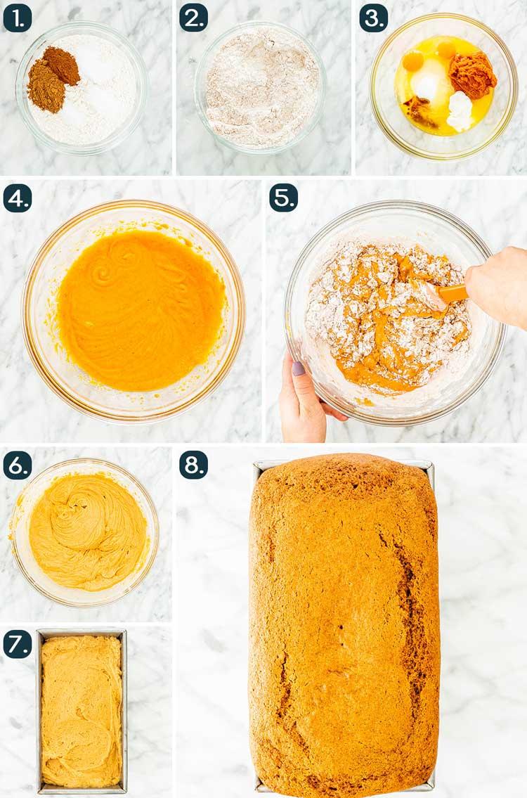 process shots showing how to make pumpkin bread