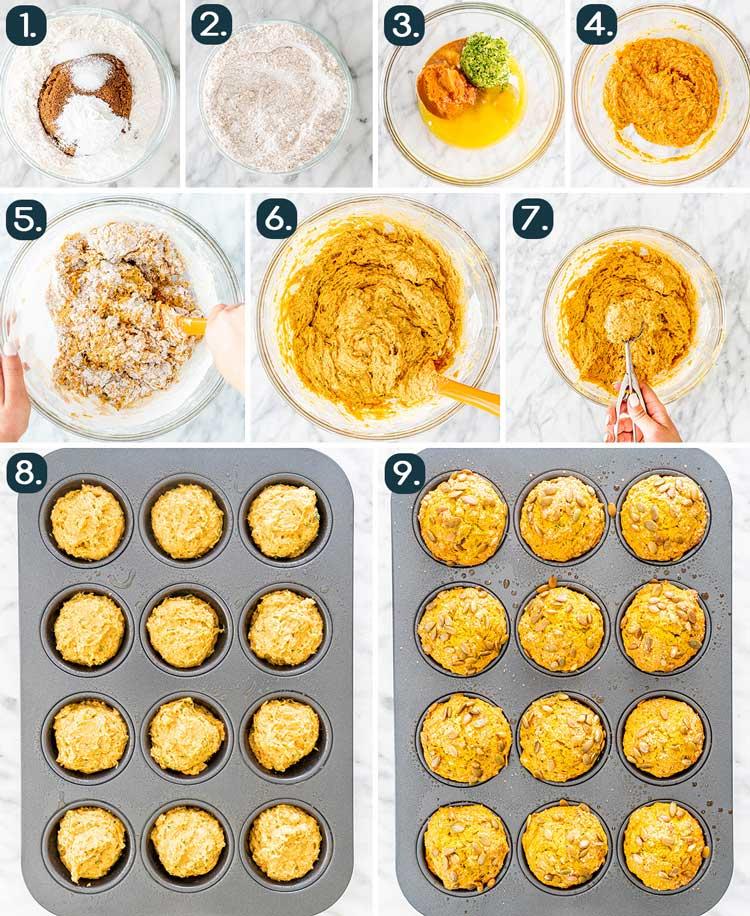 process shots showing how to make Pumpkin Zucchini Muffins