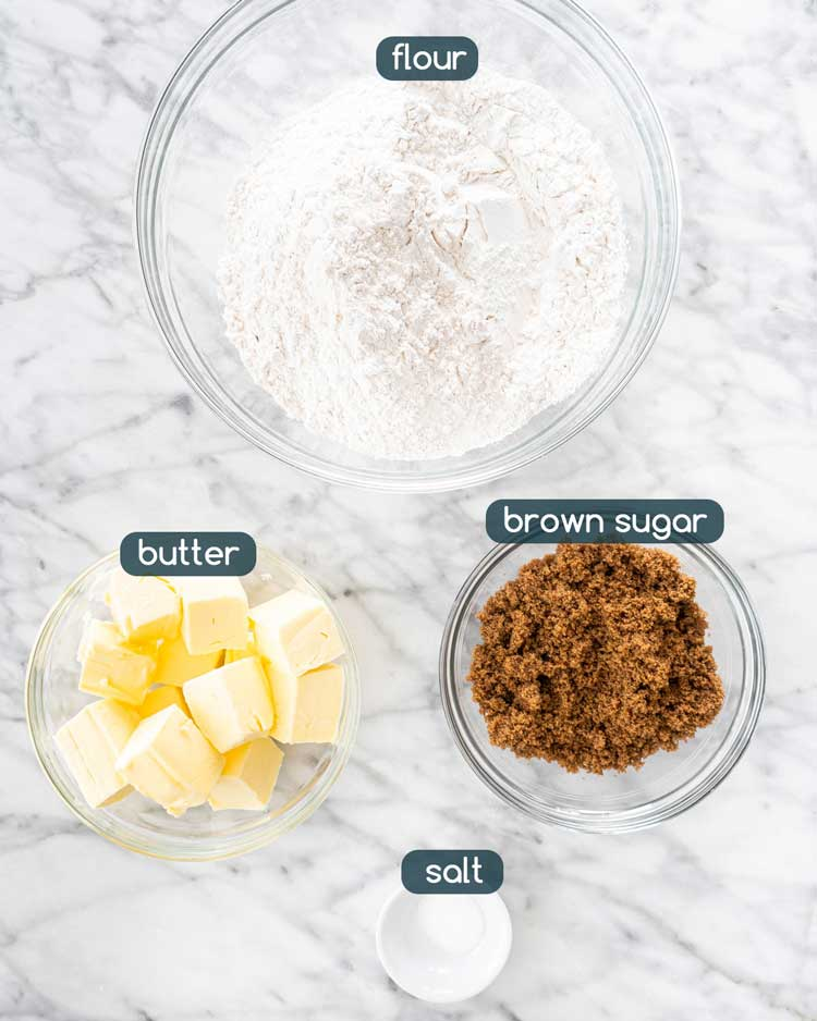overhead shot of ingredients needed to make scottish cookies