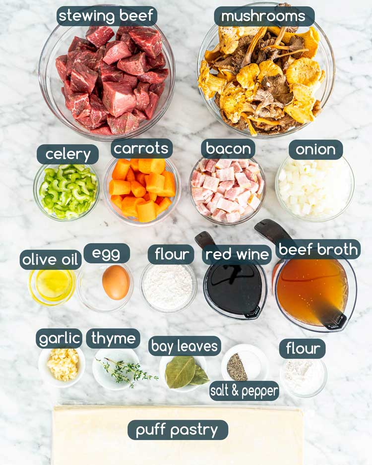 overhead shot of all the ingredients needed to make steak and mushroom pie