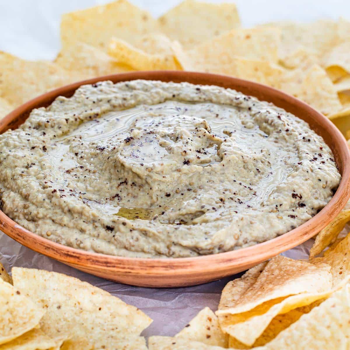 baba ganoush in a bowl.
