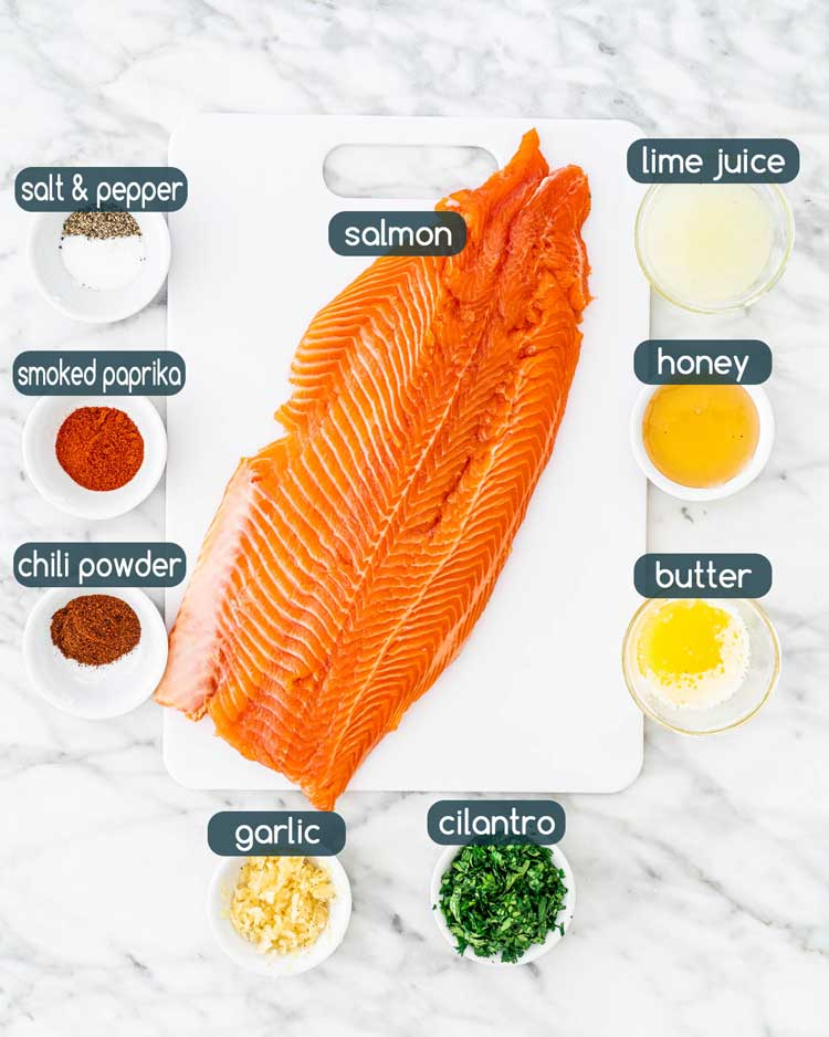 overhead shot of all the ingredients needed to make cilantro lime salmon