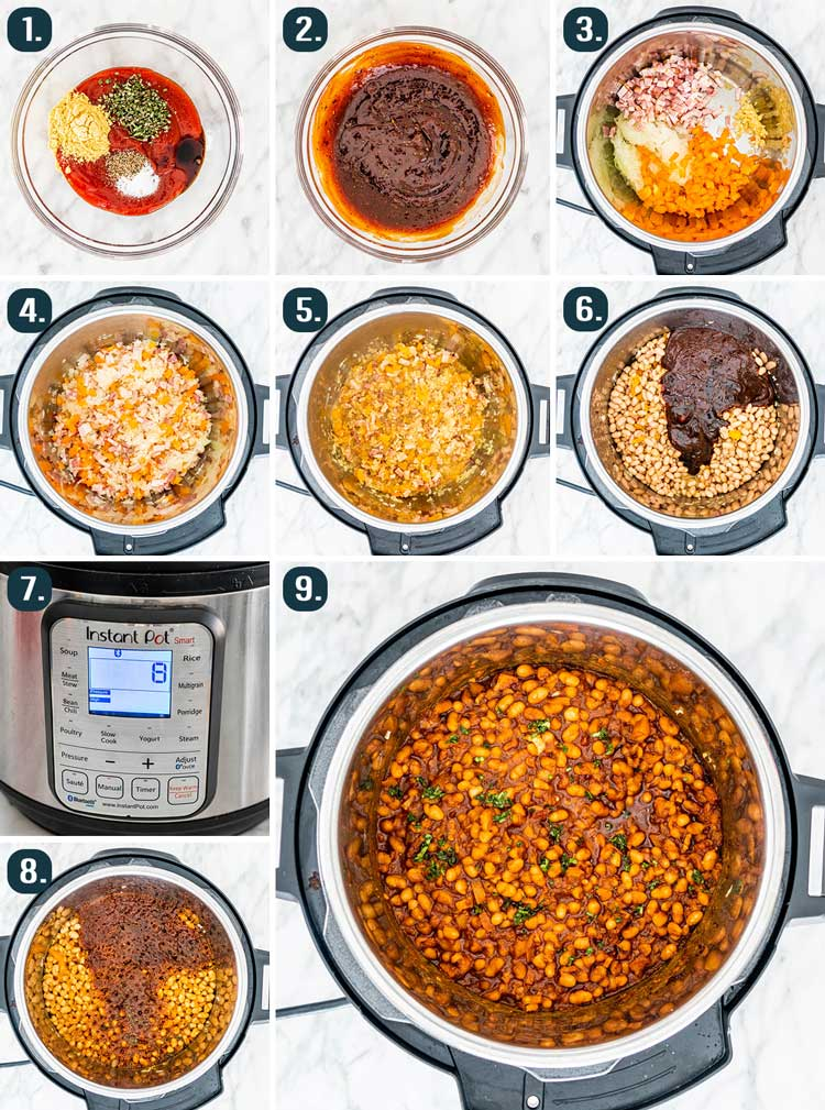 process shots showing how to make instant pot baked beans