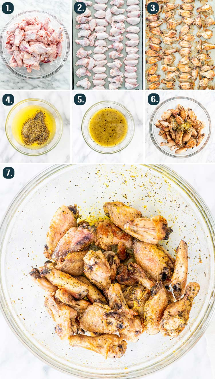 process shots showing how to make Lemon Pepper Wings