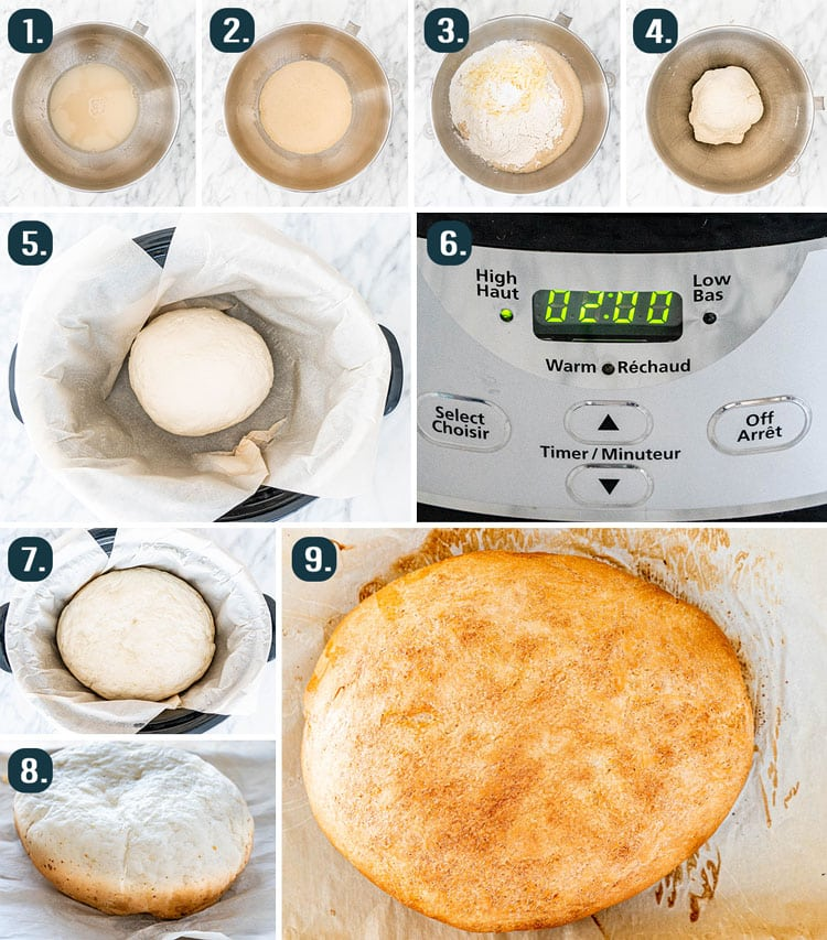 process shots showing how to make slow cooker bread