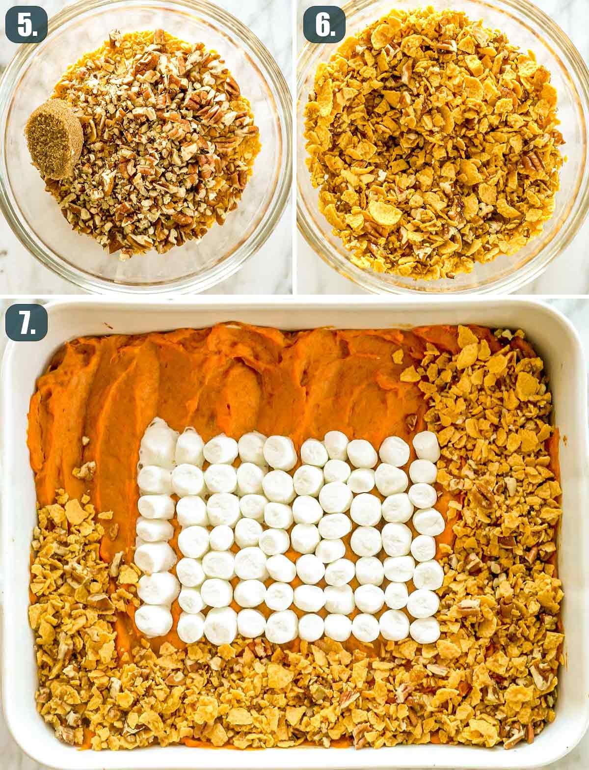 process shots showing how to finish making sweet potato casserole.