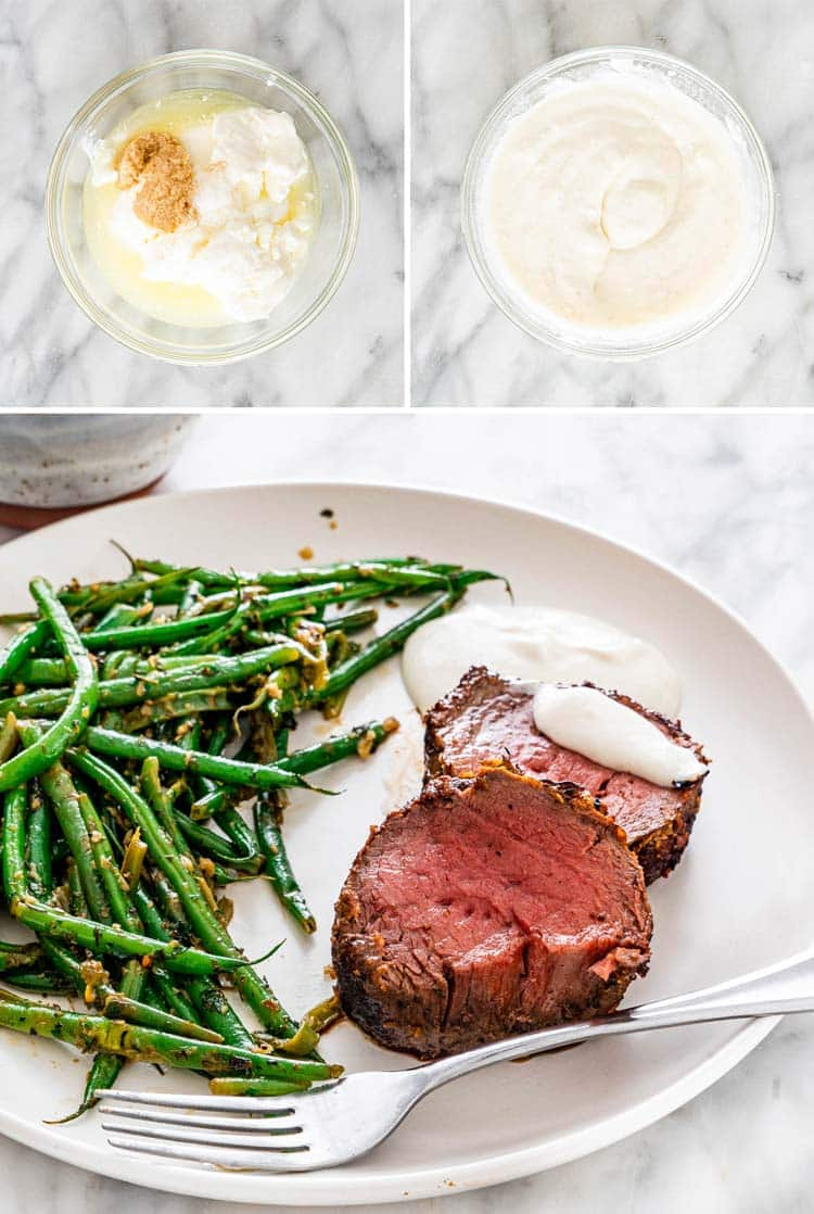horseradish yogurt sauce plus 2 slices of filet mignon with green beans on a white plate