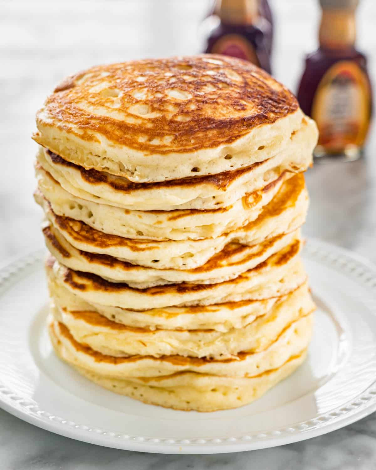 a stack of freshly made pancakes