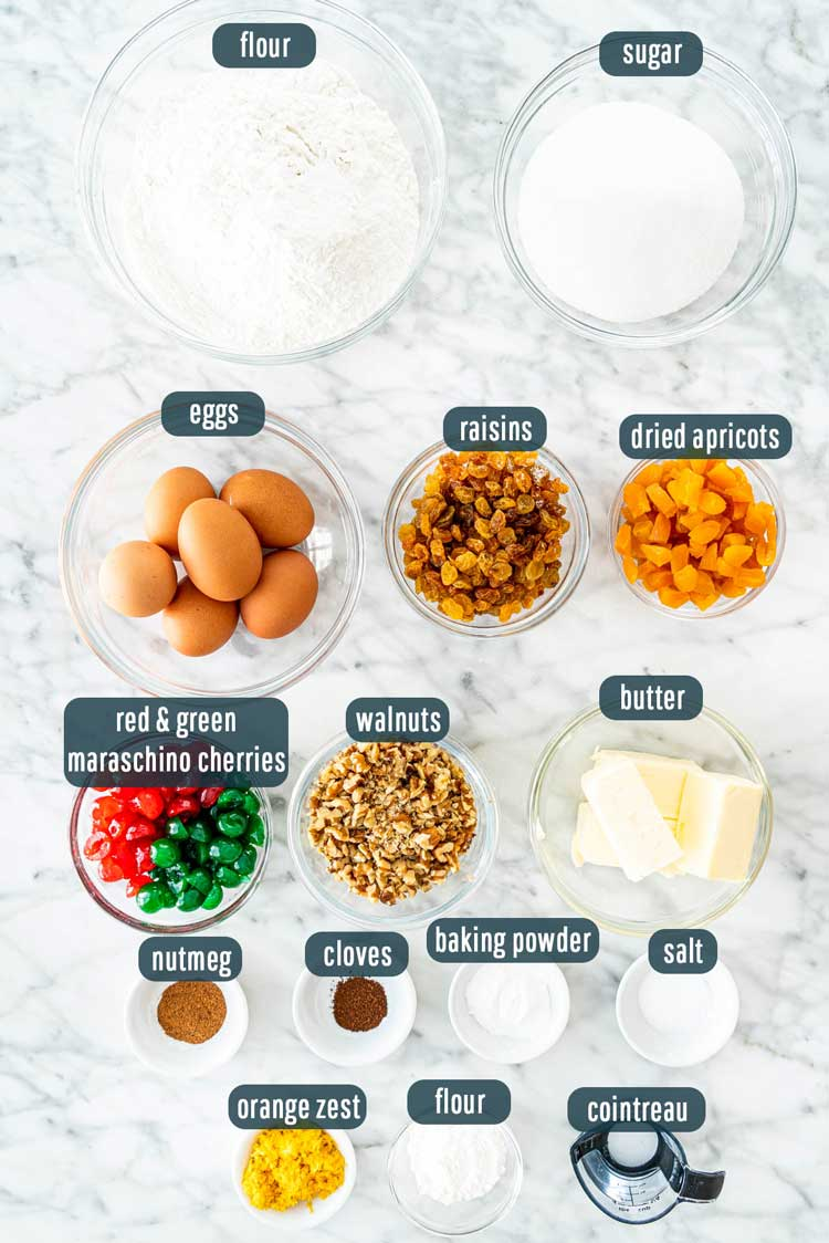 overhead shot of all ingredients needed to make fruit cake